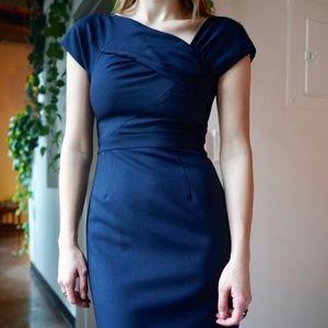 Navy Blue J. Crew Dress with Asymmetrical Neckline